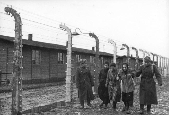 soviet soldiers with liberated prisons in 1945 (REUTERS:HO AUSCHWITZ MUSEUM).JPG
