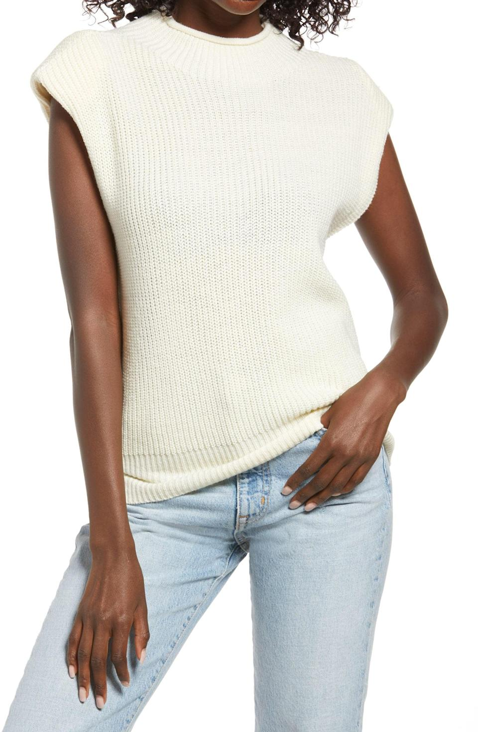 <p>Wear this <span>Vero Moda Padded Shoulder Sleeveless Sweater</span> ($49) alone or layer it over a long-sleeved shirt. The padded shoulders give it structure, while the sleeveless silhouette makes it easygoing.</p>