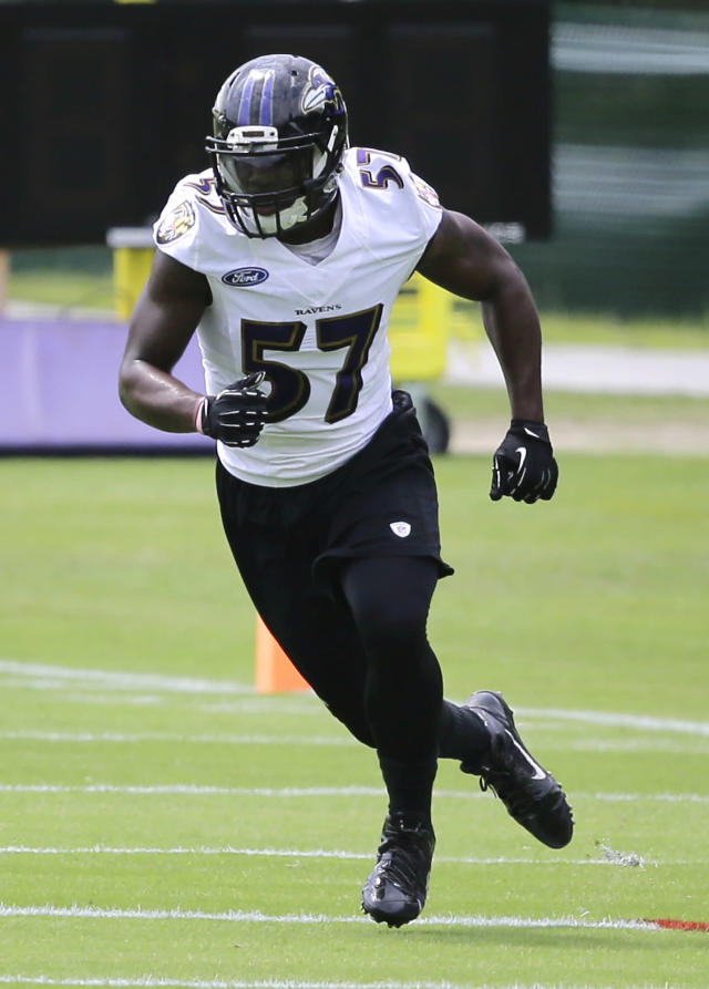 Baltimore Ravens linebacker C.J. Mosley runs a drill during an NFL football practice, Tuesday, July 22, 2014, at the team's practice facility in Owings Mills, Md. (AP Photo)
