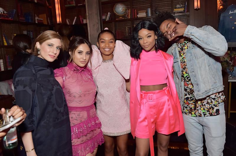 LOS ANGELES, CA - APRIL 27: (L-R) Guest, Francia Raisa, Yara Shahidi, Ajiona Alexus and Trevor Jackson attend Marie Claire Celebrates Fifth Annual 'Fresh Faces' in Hollywood with SheaMoisture, Simon G. and Sam Edelman at Poppy on April 27, 2018 in Los Angeles, California. (Photo by Stefanie Keenan/Getty Images for Marie Claire)