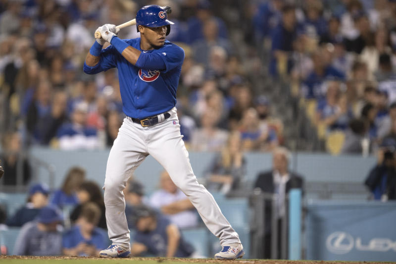 Chicago Cubs shortstop Addison Russell in a baseball game against the Los Angeles Dodgers in Los Angeles, Friday, June 14, 2019. (AP Photo/Kyusung Gong)