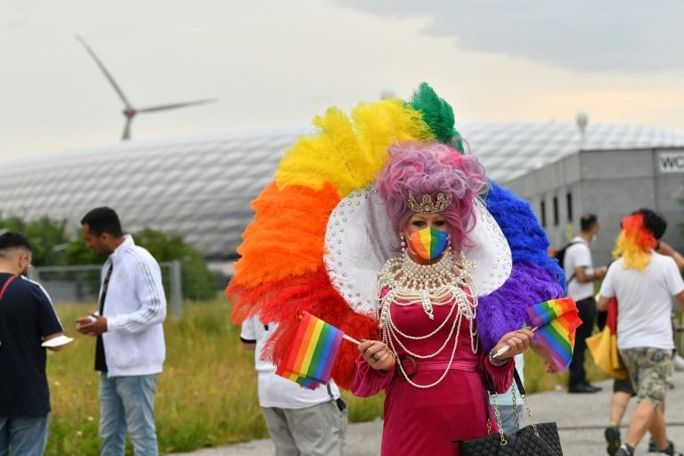 One fan turned up to the Munich game dressed as a drag queen