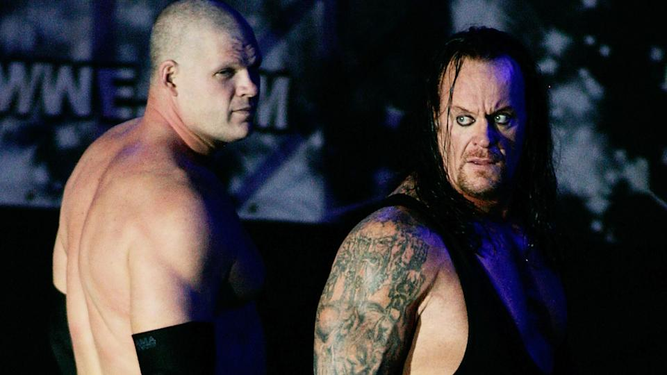 Kane and The Undertaker appeared together during WWE Smackdown in 2010. (Photo by Gerardo Zavala/Jam Media/LatinContent via Getty Images)