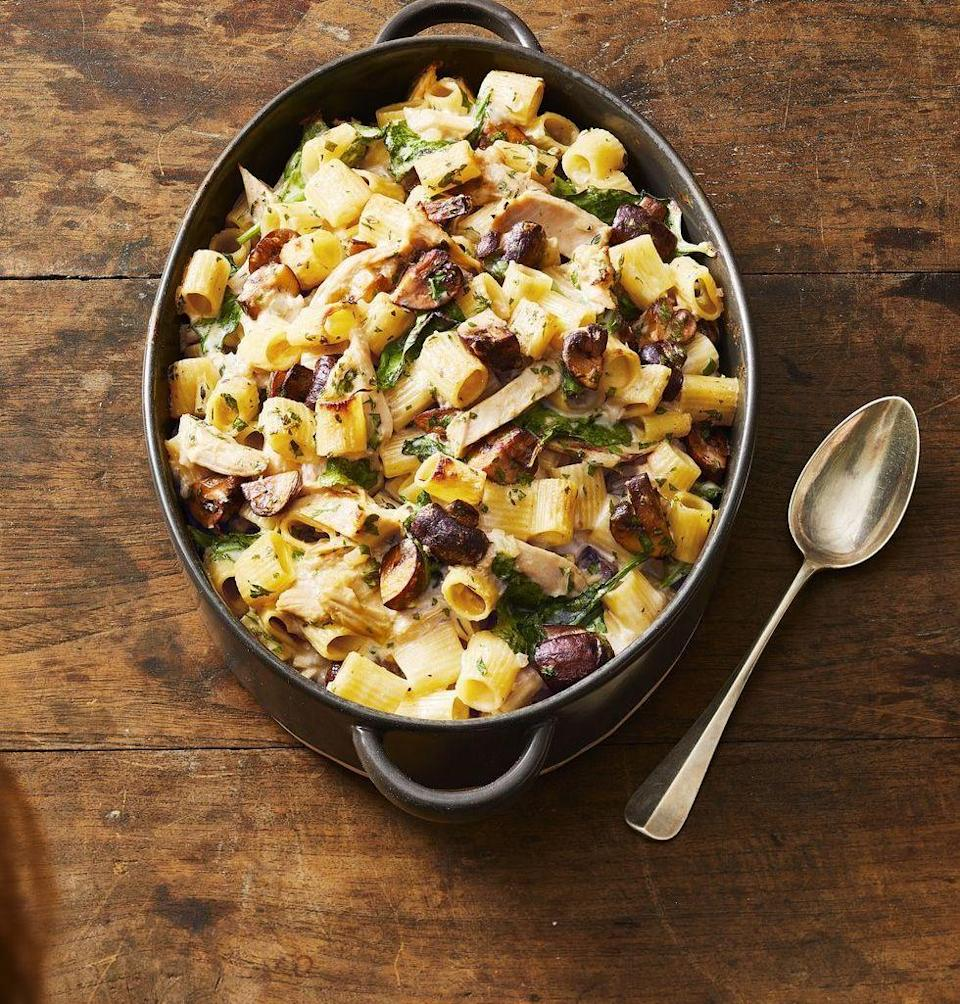 "<p>This crowd-pleasing pasta bake, full of Gruyère, mushrooms and spinach, is the best way to use up your Thanksgiving leftovers, but it's also an epic addition to any weeknight meal. If you don't have leftover turkey, swap in cooked chicken breasts.</p><p><em><a href=""https://www.goodhousekeeping.com/food-recipes/a29429290/turkey-pasta-casserole-recipe/"" rel=""nofollow noopener"" target=""_blank"" data-ylk=""slk:Get the recipe for Creamy Turkey Pasta Casserole »"" class=""link rapid-noclick-resp"">Get the recipe for Creamy Turkey Pasta Casserole »</a></em></p>"