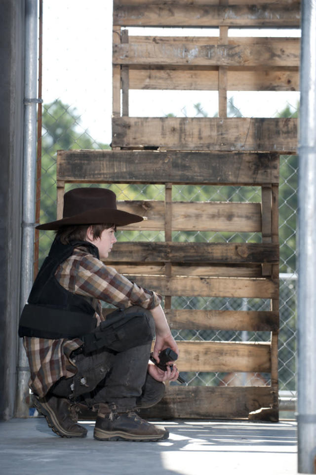 "Carl Grimes (Chandler Riggs) in ""The Walking Dead"" episode, ""I Ain't a Judas."""