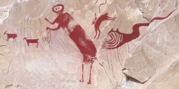 Comparison of DStretch images that show the rock art drawings in their entirety. From left to right, notice the two quadrupeds, the tall person, the supplicating person and the snakelike figure. The style of these images matches other Fremont c