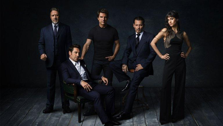 (From left) Russell Crowe, Javier Bardem, Tom Cruise, Johnny Depp, and Sofia Boutella (Photo: Universal)