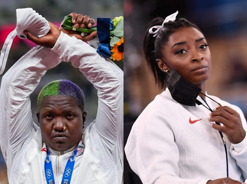 Simone Biles has offered support for her fellow teammate, Raven Saunders, following her protest on the Olympic podium (Getty/ AP)
