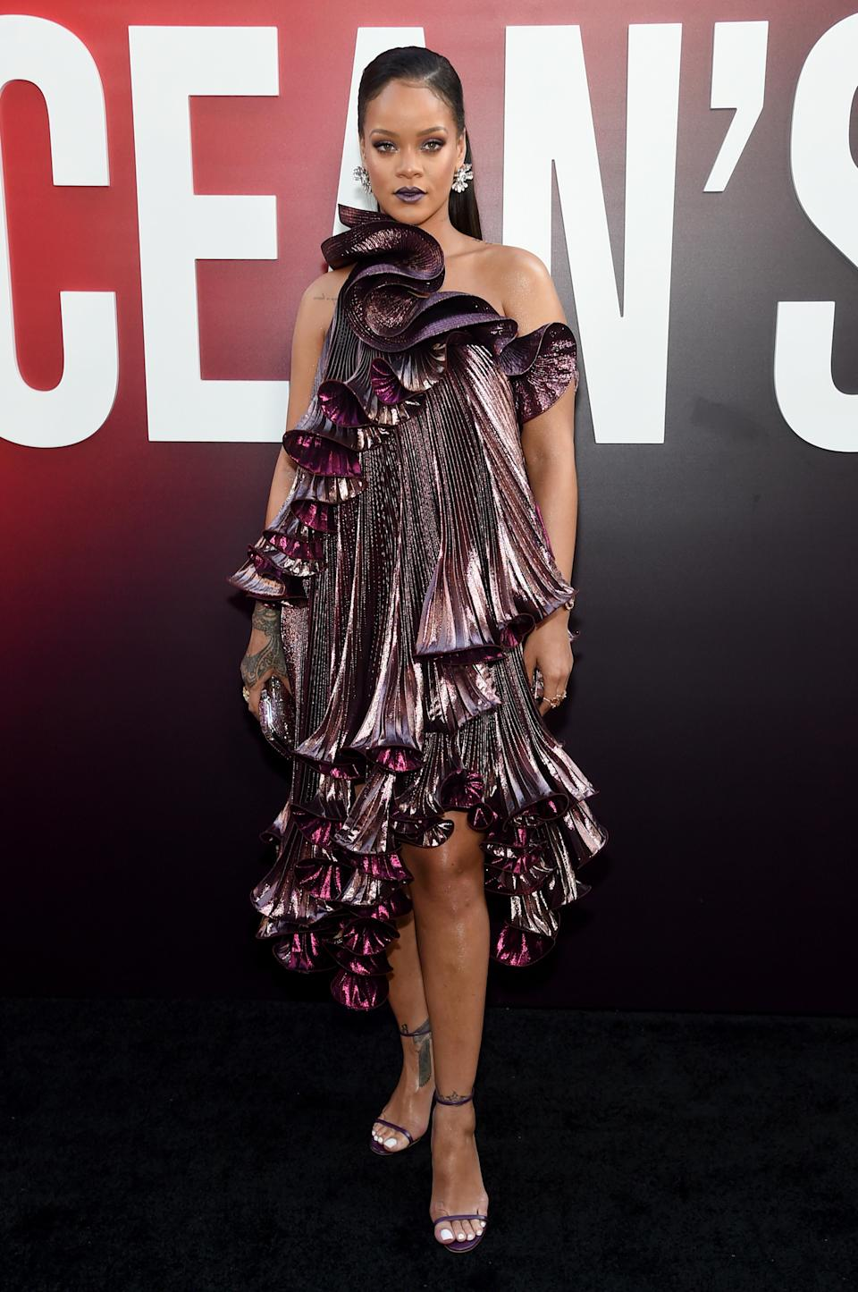 <p>Rihanna attended the 'Ocean's 8' premiere in a seriously ruffled dress by Givenchy. <em>[Photo: Getty]</em> </p>