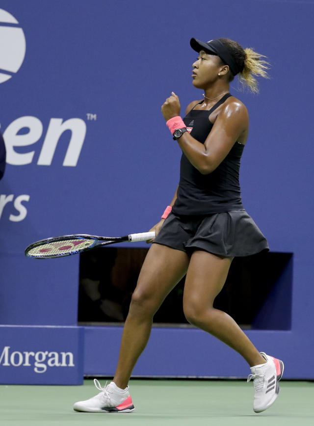 Naomi Osaka, of Japan, reacts after a point against Serena Williams during the women's final of the U.S. Open tennis tournament, Saturday, Sept. 8, 2018, in New York. (AP Photo/Julio Cortez)