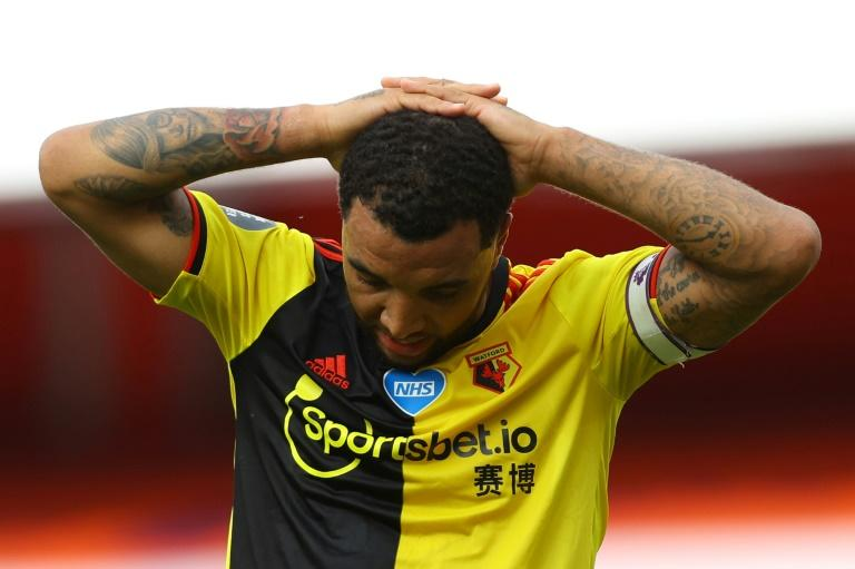 Watford captain Troy Deeney reacts to his side's relegation from the Premier League