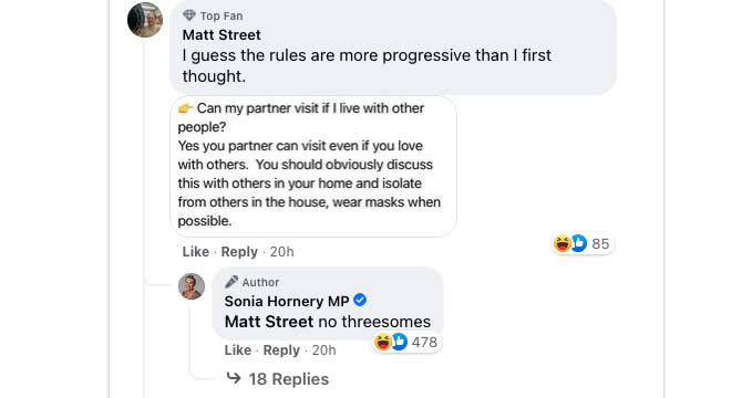 An MP's Covid announcement quickly turned chaotic after she accidentally referenced threesomes, leaving her followers in stitches. Source: Facebook/Sonia Hornery MP