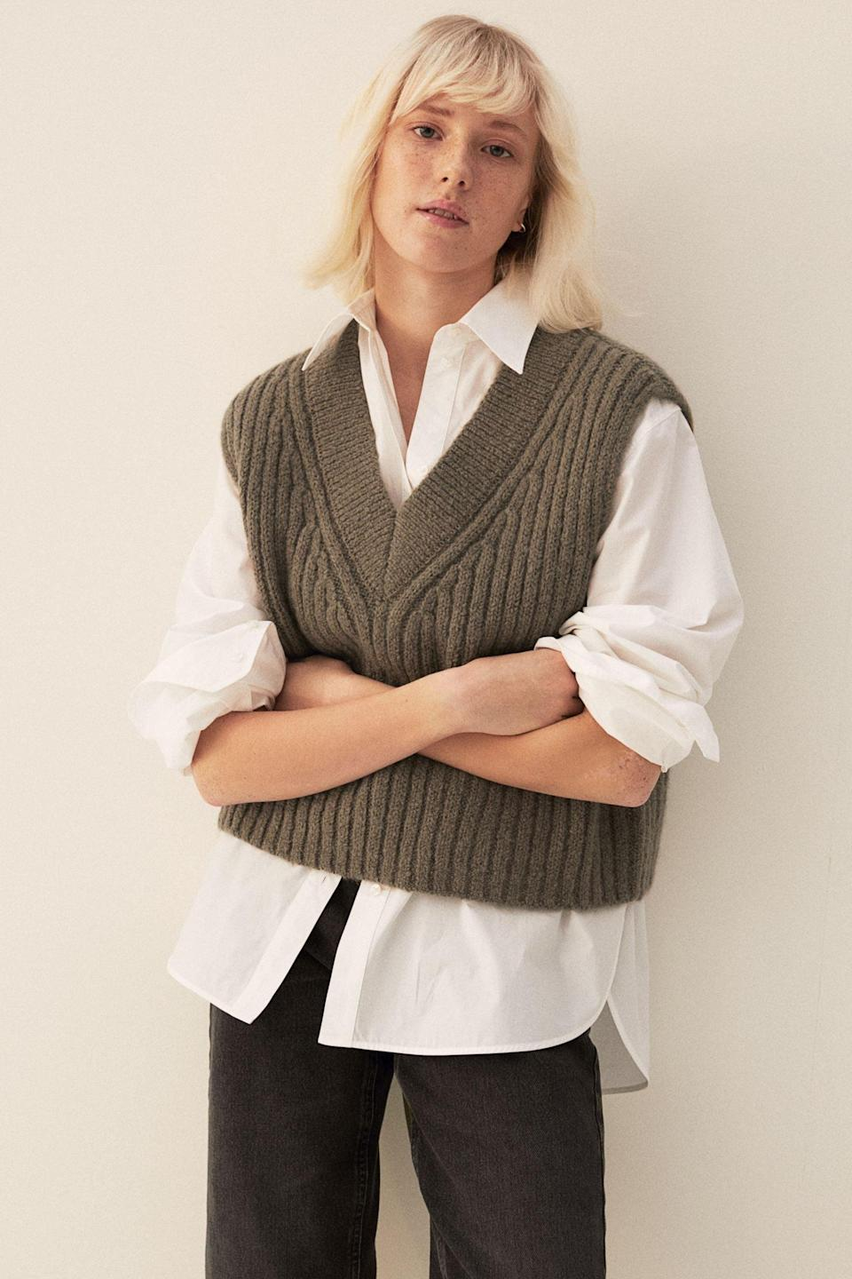 <p>This <span>Ribbed Sweater Vest</span> ($35) is so stylish and wearable, the outfit combinations are endless.</p>