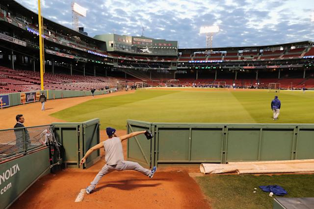 Clayton Kershaw works out ahead of the 2018 World Series against the Boston Red Sox at Fenway Park. (Photo by Elsa/Getty Images)