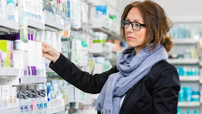beauty products, drugstore, pharmacy store, woman
