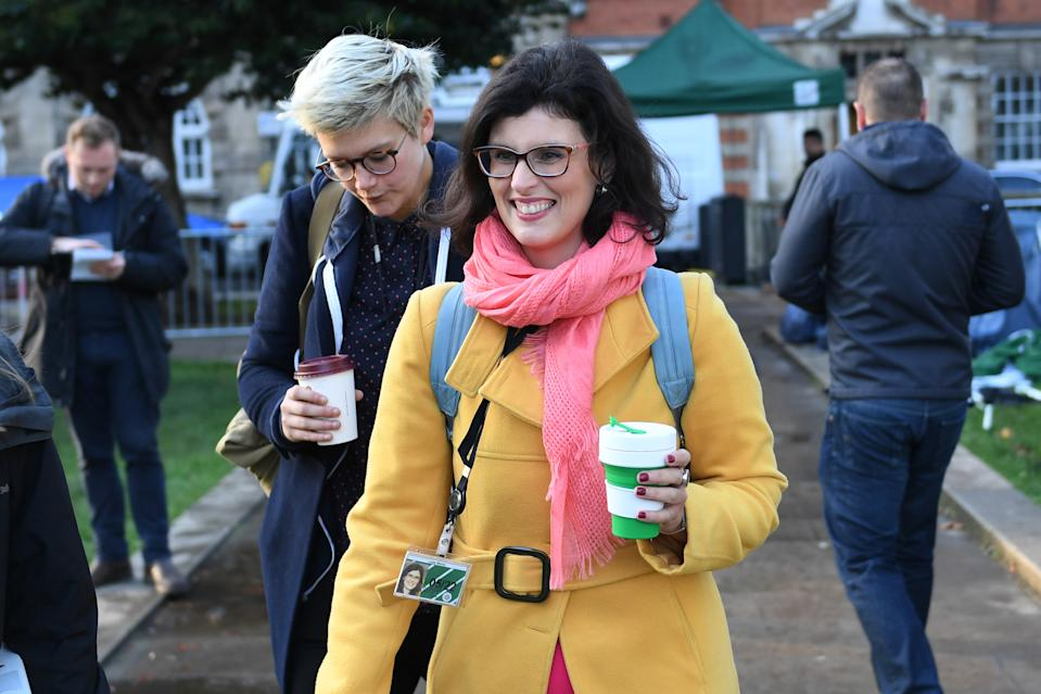 """Liberal Democrat MP Layla Moran arrives at the Houses of Parliament in London ahead of Prime Minister Boris Johnson delivering a statement in the House of Commons on his new Brexit deal after the EU Council summit, on what has been dubbed """"Super Saturday""""."""
