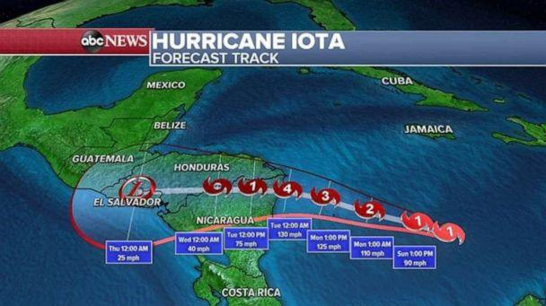 PHOTO: Iota is expected to continue moving west and northwestward over the next few days until it makes landfall sometime late on Monday or early Tuesday morning in Central America.  (ABC News)