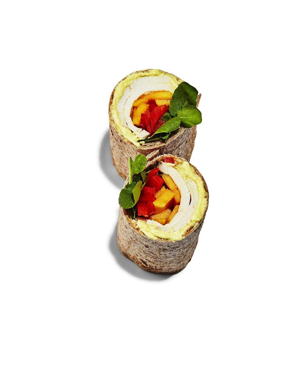 <p><strong>BREAD:</strong> 2 large wraps</p><p><strong>SPREAD:</strong> ½ cup plain Greek yogurt + 1 tsp yellow curry powder + 1 Tbsp fresh lime juice + ⅛ tsp cayenne</p><p><strong>TOPPING:</strong> ¾ cup sliced mango + ½ cup sliced red bell pepper + ½ cup watercress</p>