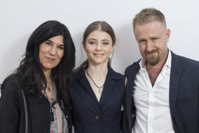 From left: Director Debra Granik poses with actors Thomasin McKenzie and Ben Foster at the Cannes film festival. (Photo: Joel C. Ryan/Invision/AP)