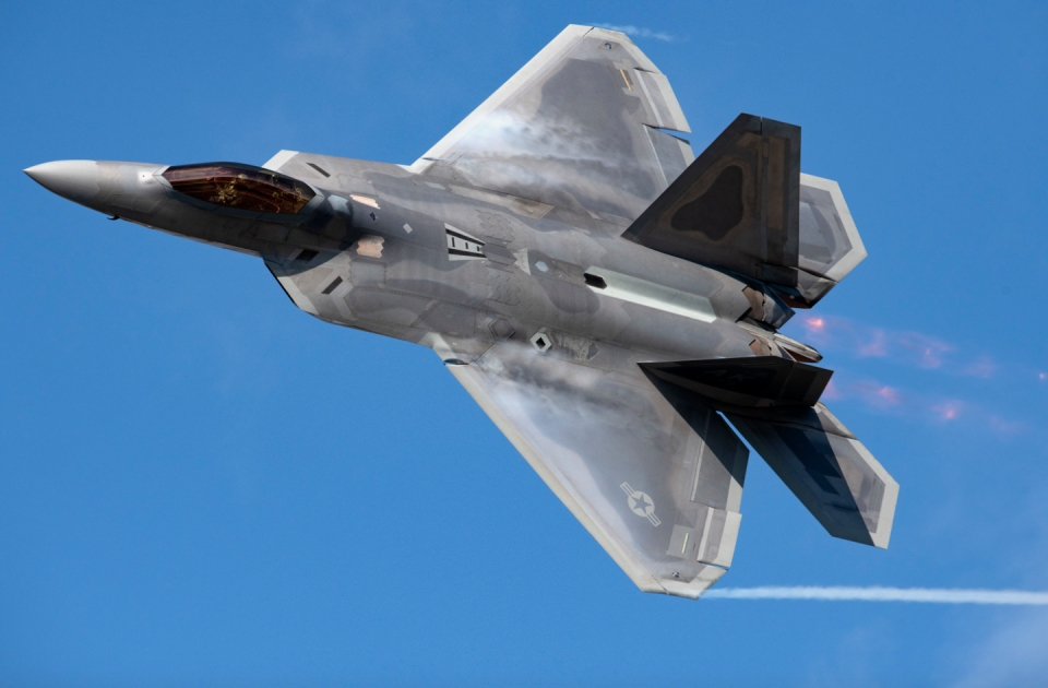 """<p>First flown in 1990, <a href=""""https://www.af.mil/About-Us/Fact-Sheets/Display/Article/104506/f-22-raptor/"""" rel=""""nofollow noopener"""" target=""""_blank"""" data-ylk=""""slk:the prototype F-22"""" class=""""link rapid-noclick-resp"""">the prototype F-22</a> was a maneuverable, stealthy, and versatile fifth generation jet fighter. Raptors were built to dominate enemy aircraft in air-to-air combat or carry two 1,000-pound bombs to eliminate ground targets. The U.S. Air Force now operates 183 Raptors in squadron service. </p>"""