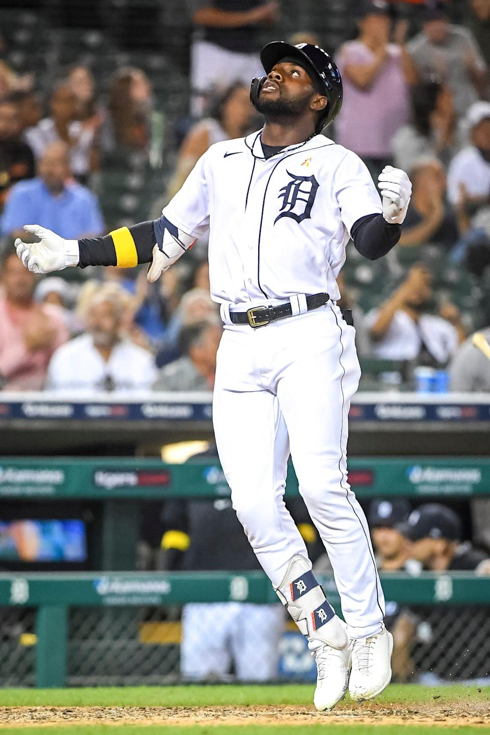 Akil Baddoo #60 of the Detroit Tigers celebrates a solo home run against the Oakland Athletics during the bottom of the fifth inning at Comerica Park on September 01, 2021 in Detroit, Michigan.
