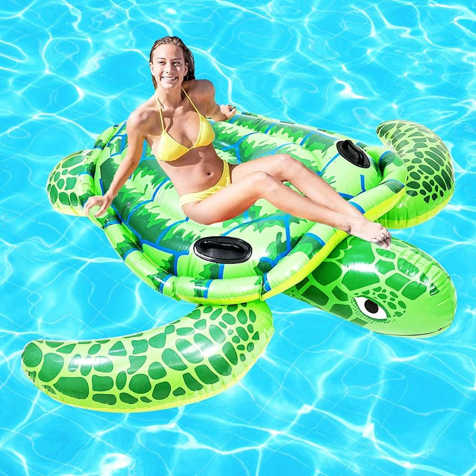 <p>Relax and float around with this <span>Alladinbox Inflatable Giant Turtle Pool Float</span> ($30).</p>