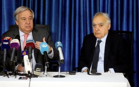 UN Secretary General Antonio Guterres and the U.N. Envoy for Libya Ghassan Salame speak during a news conference in Tripoli on Thursday - Credit:  REUTERS/ HANI AMARA