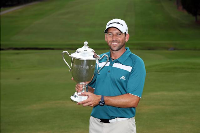 GREENSBORO, NC - AUGUST 20: Sergio Garcia of Spain holds the Sam Snead Cup after winning the Wyndham Championship at Sedgefield Country Club on August 20, 2012 in Greensboro, North Carolina. (Photo by Hunter Martin/Getty Images)