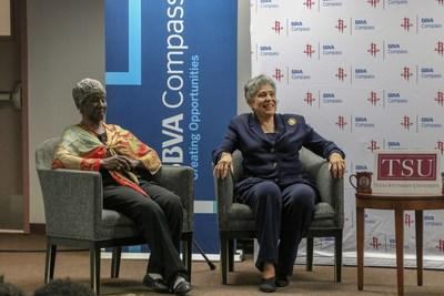 Pictured Left to Right: Civil Rights Leaders Lucille Bridges and Carlotta Walls LaNier participate in a Fireside Chat with BBVA Compass and the Houston Rockets at Texas Southern University.