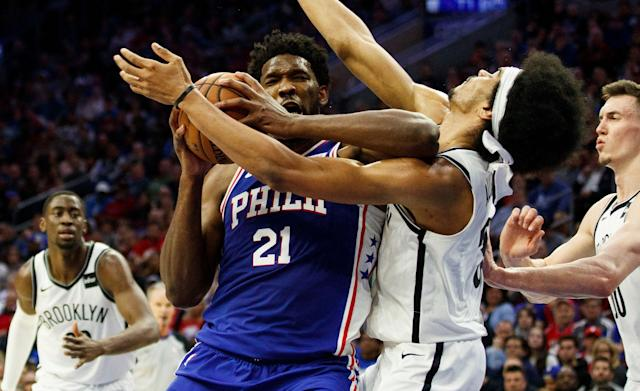 "<a class=""link rapid-noclick-resp"" href=""/nba/teams/philadelphia/"" data-ylk=""slk:Sixers"">Sixers</a> center <a class=""link rapid-noclick-resp"" href=""/nba/players/5294/"" data-ylk=""slk:Joel Embiid"">Joel Embiid</a> caught <a class=""link rapid-noclick-resp"" href=""/nba/teams/brooklyn/"" data-ylk=""slk:Nets"">Nets</a> counterpart <a class=""link rapid-noclick-resp"" href=""/nba/players/5835/"" data-ylk=""slk:Jarrett Allen"">Jarrett Allen</a> with a hard elbow. (AP)"