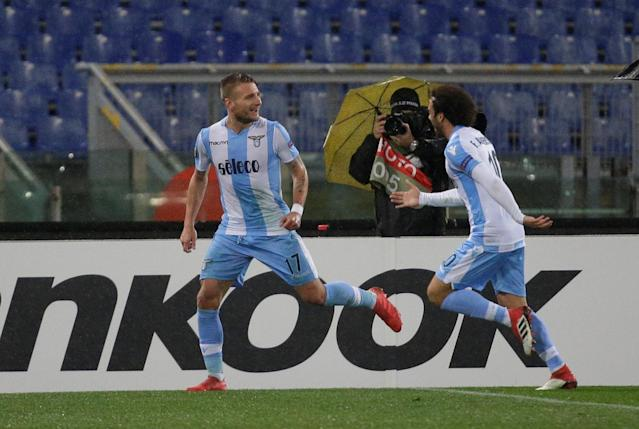 Soccer Football - Europa League Round of 32 Second Leg - Lazio vs Steaua Bucharest - Stadio Olimpico, Rome, Italy - February 22, 2018 Lazio's Ciro Immobile celebrates scoring their third goal with Felipe Anderson REUTERS/Max Rossi