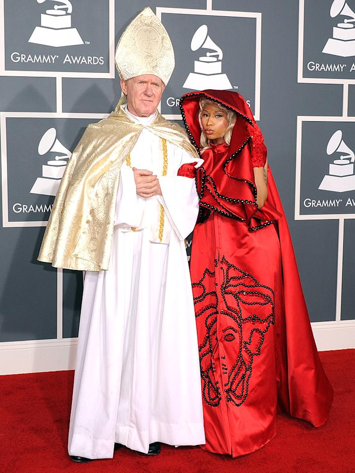 If Nicki Minaj was looking for attention, she got it when she arrived at the ceremony donning a bizarre red cloak with a lookalike Pope by her side. The singer later performed an exorcism-inspired act with Catholic overtones, which, as she probably planned, stirred up criticism and angered some religious groups. (2/12/2012)