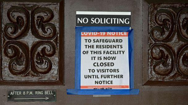PHOTO: A sign at the entrance to the Orinda Care Center stating the center is now closed to visitors is seen, April 8, 2020, in Orinda, Calif.  (Ben Margot/AP, FILE)