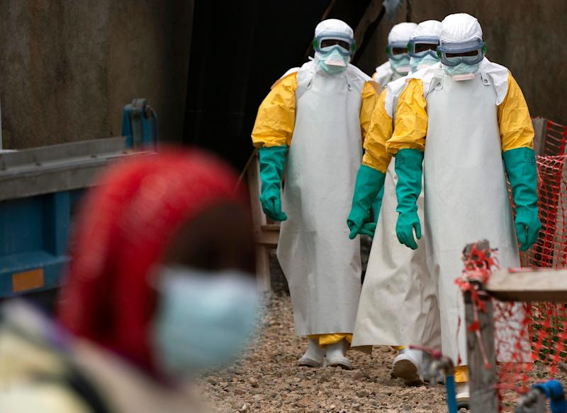 Health care workers on their way to an Ebola treatment center in Beni, Congo, on July 16, 2019.