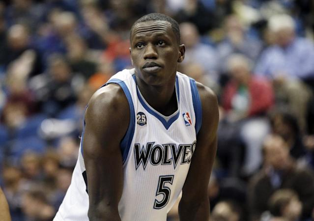 Minnesota Timberwolves' Gorgui Dieng of Senegal watches a free throw in the second half of an NBA basketball game against the Los Angeles Lakers, Tuesday, Feb. 4, 2014, in Minneapolis. The Timberwolves won 109-99. (AP Photo/Jim Mone)