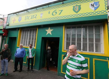 Celtic fans gather outside Bar' 67 after the last match of the season against Heart of Midlothian, Glasgow, Scotland,Britain, May 21, 2017. Picture taken May 21, 2017 REUTERS/Paul Hackett