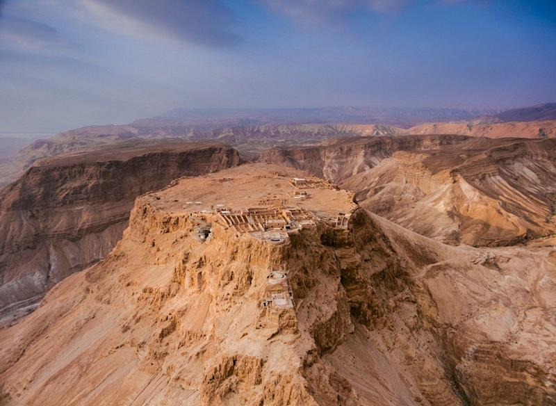 A breathtaking aerial view of Masada, once a mountain fortress built by order of Herod the Great during the 1st Century BCE (BC).