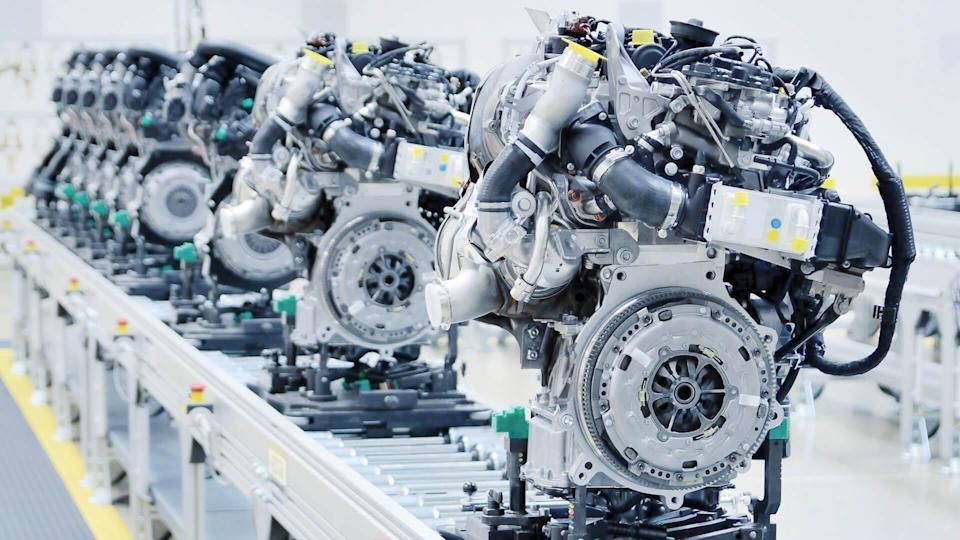 car engines in manufacturing facility