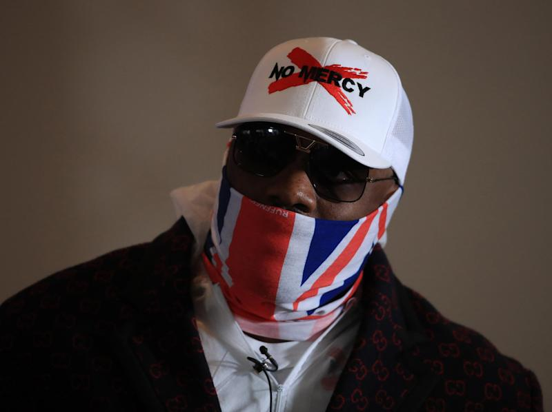 Dereck Chisora at a press conference to promote his fight with Oleksandr Usyk: Getty