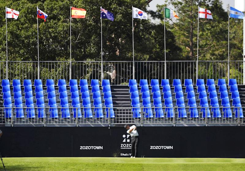 Tiger Woods teed off in front of an empty grandstand on Saturday at the Zozo Championship. Mandatory credit Kyodo/via REUTERS