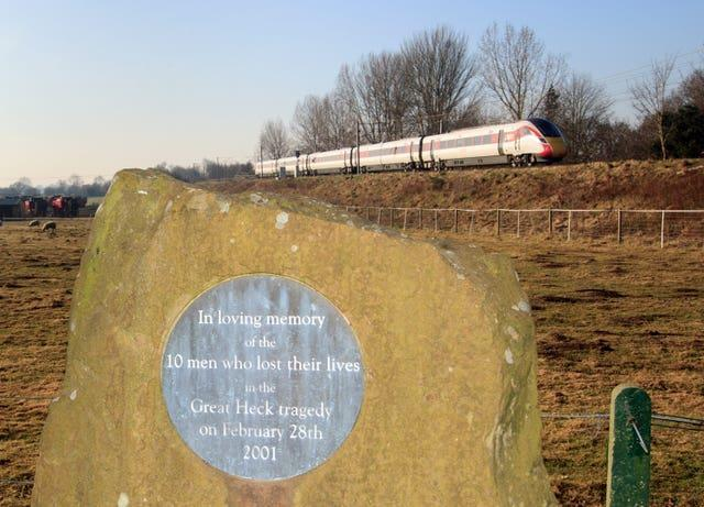 A memorial plaque in the Great Heck Rail Disaster Memorial Garden near Selby in North Yorkshire