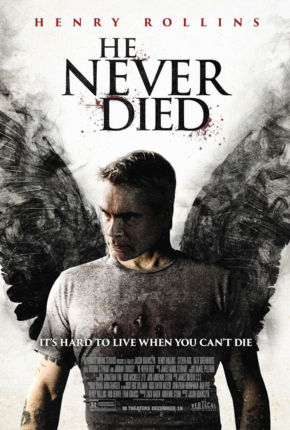 "<h1 class=""title"">HE NEVER DIED, US poster art, Henry Rollins, 2015. © Vertical Entertainment / courtesy Everett</h1><cite class=""credit"">Courtesy Everett Collection</cite>"