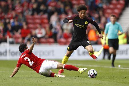 Britain Football Soccer - Middlesbrough v Manchester City - Premier League - The Riverside Stadium - 30/4/17 Manchester City's Leroy Sane in action with Middlesbrough's Fabio Action Images via Reuters / Lee Smith Livepic