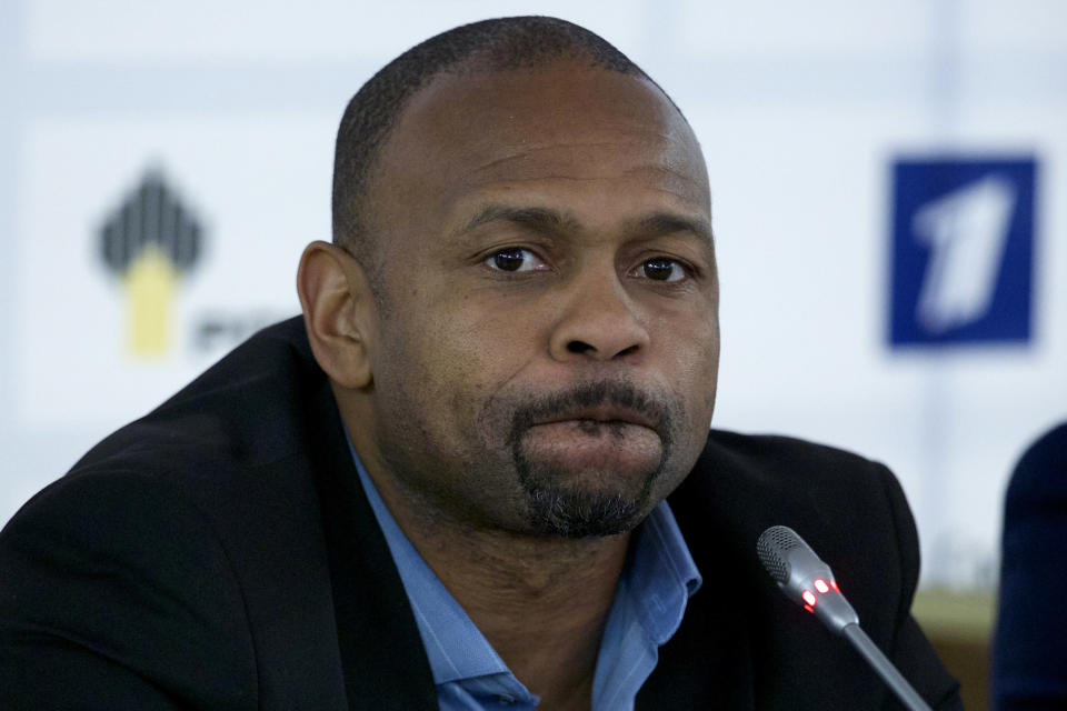 FILE - In this Oct. 28, 2015, file photo, Roy Jones Jr. attends a news conference after picking up his Russian passport in Moscow. Jones and Mike Tyson are older, wiser, calmer men than the superstars who dominated their sport. Their fight at Staples Center on Saturday night, Nov. 28, is an eight-round exhibition bout with no official judging and limited violence, although the limit depends on whether you're asking the fighters or the California State Athletic Commission. For Tyson and Jones, this unique pay-per-view boxing match is less of a sporting event and more of a chance for two transcendent athletes to prove age is a number and aging is a choice. (AP Photo/Ivan Sekretarev, File)
