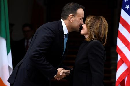 Ireland's Prime Minister (Taoiseach) Leo Varadkar welcomes U.S. House Speaker Nancy Pelosi at the Government Buildings in Dublin, Ireland April 16, 2019. REUTERS/Clodagh Kilcoyne