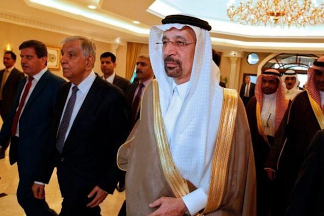 Saudi energy minister, Khalid al-Falih, arrives to hold a press conference with his Iraqi counterpart on May 22, 2017, in Baghdad, Iraq. (Source: Getty)