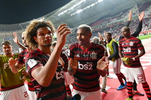 Flamengo players celebrate after beating Al Hilal 3-1 in their Club World Cup semi-final