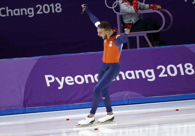 Speed Skating - Pyeongchang 2018 Winter Olympics - Men's 1000m competition finals - Gangneung Oval - Gangneung, South Korea - February 23, 2018 - Kjeld Nuis of Netherlands celebrates after his race. REUTERS/Damir Sagolj