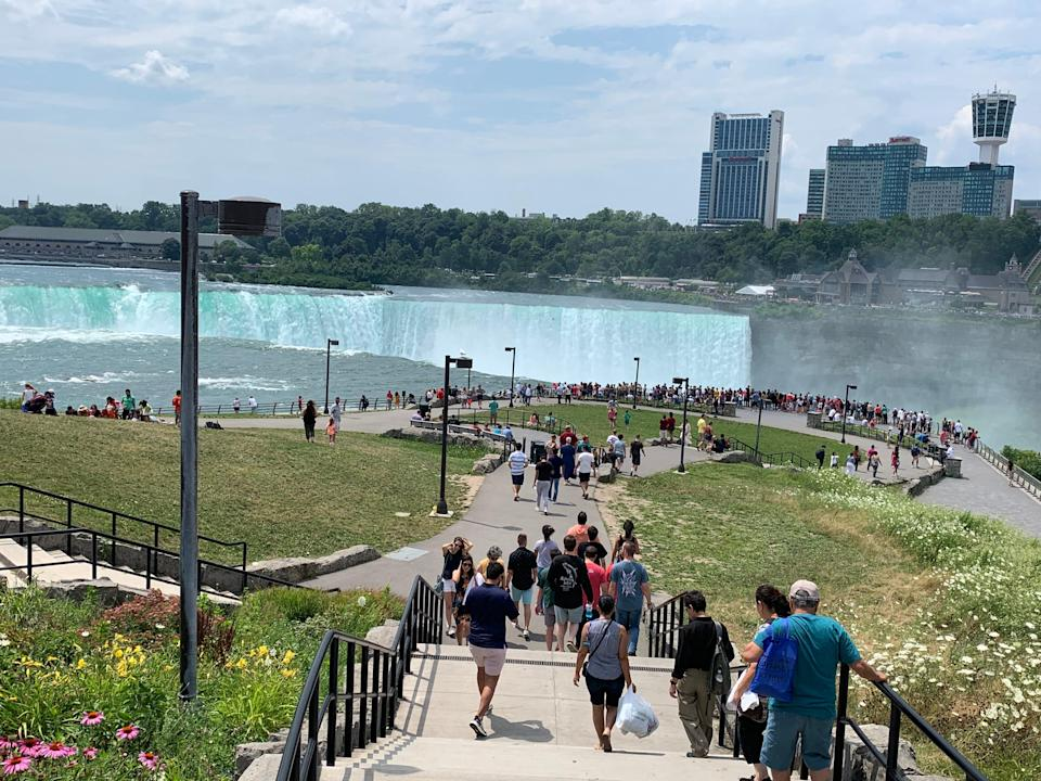 Terrapin Point at Horseshoe Falls, also known as Canadian Falls, are divided by the U.S.-Canada border.
