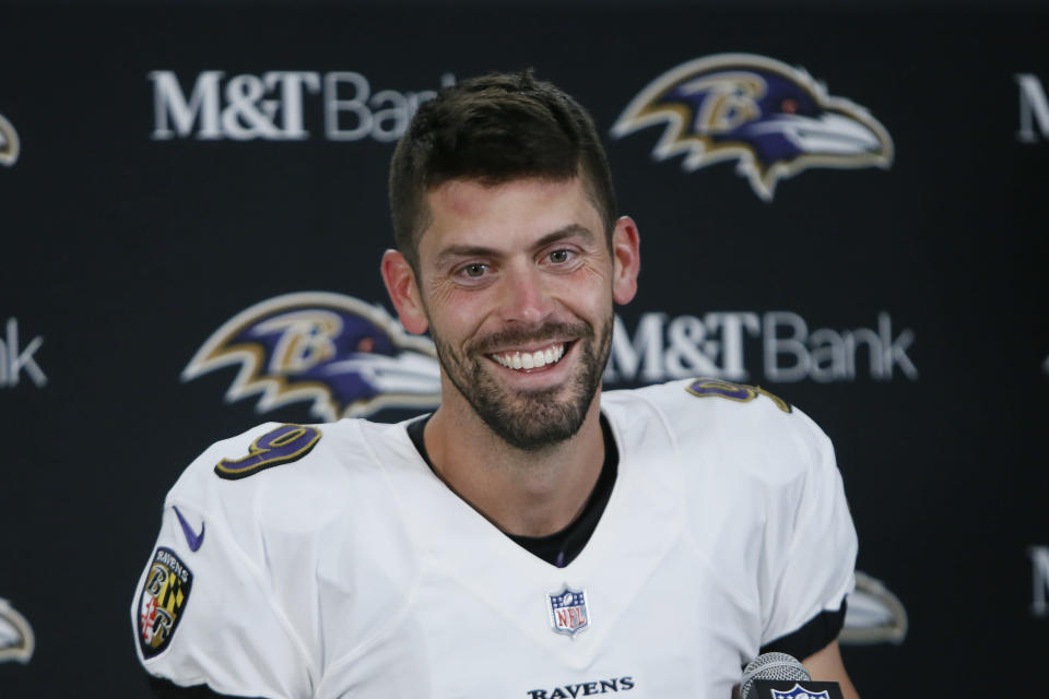 Baltimore Ravens kicker Justin Tucker smiles while speaking to the media after an NFL football game against the Detroit Lions in Detroit, Sunday, Sept. 26, 2021. Tucker kicked a 66-yard field goal to beat Detroit 19-17. (AP Photo/Duane Burleson)